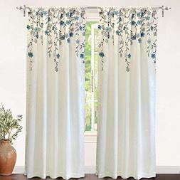 DriftAway Isabella Faux Silk Embroidered Window Curtain, Emb