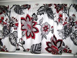 Red Black Gray on White Jacobean Paisley Valance Curtain Win