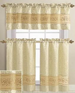 3 Piece Jacquard Kitchen Window Curtain Set with Embroidered