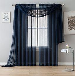 Jane - Rod Pocket Semi-Sheer Curtains - 2 Pieces - Total siz