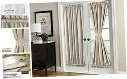jinchan French Door Panel Linen Look Blackout Curtain 72 inc