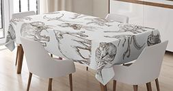 Jurassic Decor Tablecloth by Ambesonne, Collection of Variou