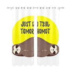 OHFSCTN Just Do It Tomorrow Sloth Curtain Panels for Bedroom