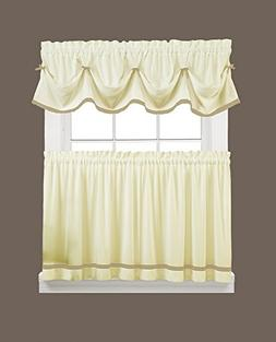 Kate Elegance Kitchen Curtain Tier Pair  - Natural with Colo