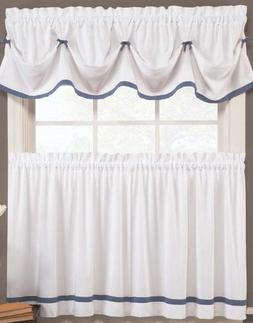 Kate Elegance Kitchen Curtain Valance  - White with Color Tr