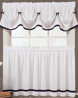 Kate Elegance Kitchen Curtain Set - Valance  + Tier Pair  -