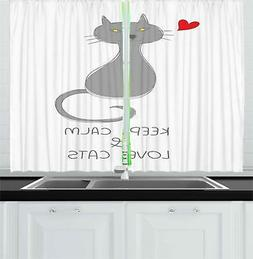 Keep Calm Kitchen Curtains 2 Panel Set Home Decorations Wind
