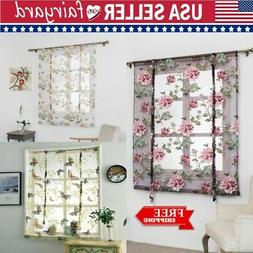 Kitchen Bathroom Window Roman Curtain Floral Sheer Home Voil