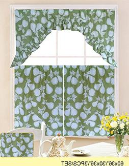 WPM 3 Piece Kitchen/cafe Curtain Tier and Swag Set Green Pea