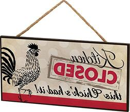 Kitchen Closed Rooster Wooden Sign with Jute Rope Hanger