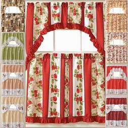 Kitchen Curtains 3 Pc. Set with Attached Valance Tier and Sw