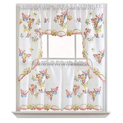 GOHD - 3pcs Kitchen Curtain/Cafe Curtain Set, Air-Brushed by