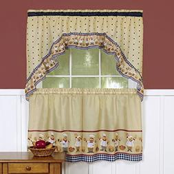 Sweet Home Collection 3 Piece Kitchen Curtain Classic Design