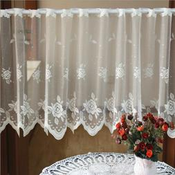 Kitchen Curtain Embroidery Cafe Lace Valance Home Window She