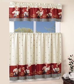 Superior Home 3 Piece Kitchen Curtain Linen Set with 2 Tiers