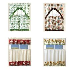 Kitchen Curtain Linen Set with 2 Tiers and 1 Valance Kitchen