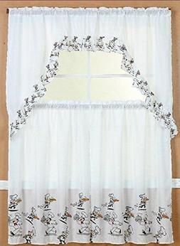 Linens And More 3 Piece Kitchen Curtain Set: 2 Tiers and 1 V