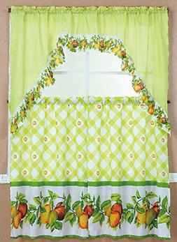 3 Piece Kitchen Curtain Set: 2 Tiers and 1 Valance