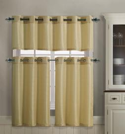 3 Piece Kitchen Curtain Set : 1 Valance, 2 Tiers, Solid Colo