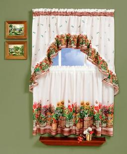 Kitchen Curtain Sets W/ Valance Swags Country Floral For Win
