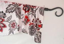 KITCHEN CURTAIN VALANCE~Floral~Red~Black~Gray~Grey~White~Top