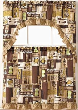 Golden Rugs 3pc Kitchen Curtain and Valance Set/1 Swag Valan