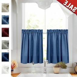 Kitchen Curtains 36 Inches Long Semi Sheer Casual Weave Cafe