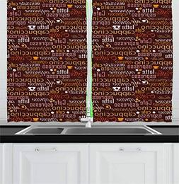Ambesonne Kitchen Kitchen Curtains, Cafe Typography Art Styl
