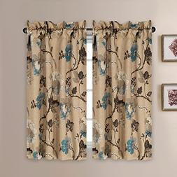 Kitchen Curtains 45 Inch Length Vintage Floral Brown Blue Cu