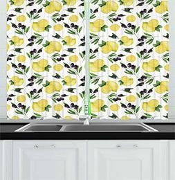 Kitchen Kitchen Curtains by Ambesonne, Watercolors Painted P
