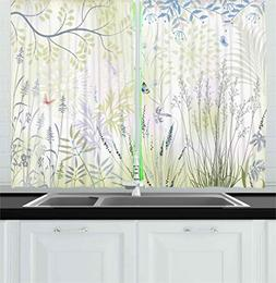 Ambesonne Nature Kitchen Curtains by, Wild Herbs and Butterf