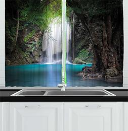 Ambesonne Nature Kitchen Curtains, Surreal Scene Deep Down i