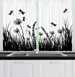 Ambesonne Nature Kitchen Curtains, Grass Bush Meadow Silhoue