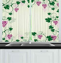 Ambesonne Nature Kitchen Curtains, Grape Vines Framework Fru