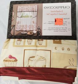 Kitchen Curtains Embellished Cottage Set, COFFEE CAPPUCCINO