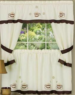 Kitchen Curtains Embellished Tailored Cottage Set, COFFEE CU