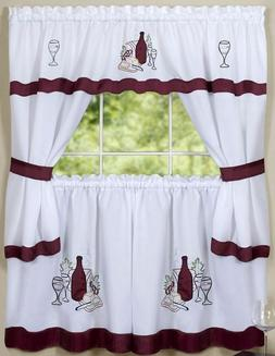 Kitchen Curtains Embellished Cottage Set, WINE & GRAPES, CAB