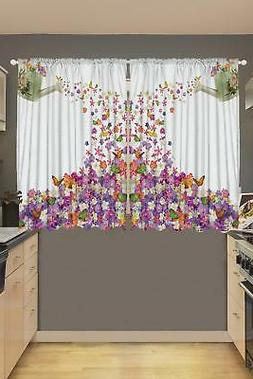 Ambesonne Kitchen Curtains, Flowers in The Pot and Flower Wa