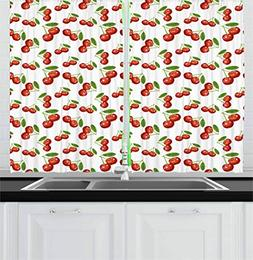 Ambesonne Fruit Kitchen Curtains, Cherry Pattern Design Fres