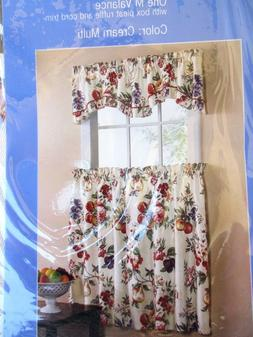 "KITCHEN CURTAINS..ORCHARD..1 VALANCE & 2 TIERS..FITS 29"" WIN"