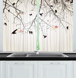 Ambesonne Nature Kitchen Curtains, Tree Branches Birds and F