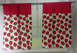KITCHEN Curtains Set: 2 Tiers  & Valance  STRAWBERRIES