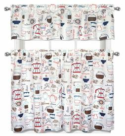 Kitchen Curtains Set: 2 Tiers  & Valance , COFFEE TYPES