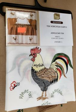 Kitchen Curtains Set: 2 Tiers  & Swag  ROOSTER, brown LX