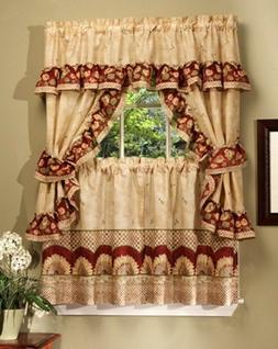 Kitchen Curtains Set: 2 Tiers  & Swag  SUNFLOWERS by Achim