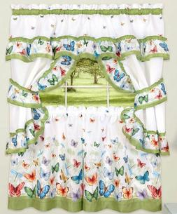 Kitchen Curtains Set: 2 Tiers  & Swag, BUTTERFLIES by Achim