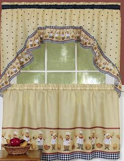 Kitchen Curtains Set 2 Tiers Swag