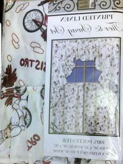 Kitchen Curtains Set: 2 Tiers  & Swag  FAT CHEF on BIKE by B