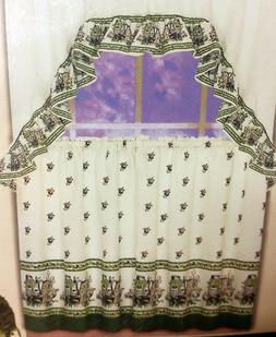 kitchen curtains set 2 tiers 60 x