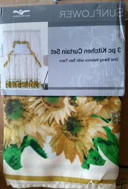 Kitchen Curtains Set: 2 Tiers & Swag, SUNFLOWER ON BEIGE by